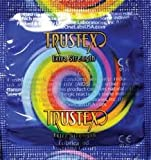 Trustex Extra Strength-Assorted Fun Colors Lubricated Latex Condoms with Silver Pocket/Travel Case-24 Count