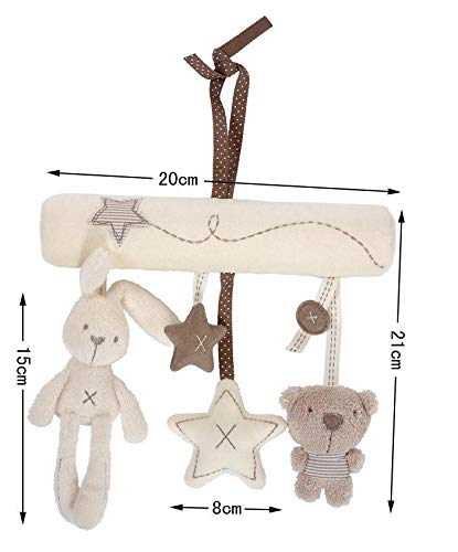 chanys Hanging Plush Toy for Crib & Stroller - Rabbit - Star and Baby Bear - Stuffed Animal Rattle - Unique and Unisex Colors