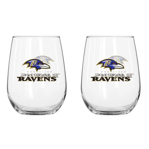 NFL Baltimore Ravens Curved Beverage Glass, 16-ounce, ()