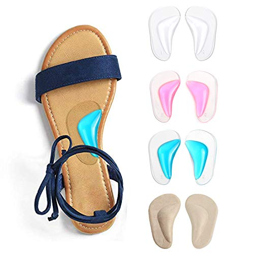 Gel Arch Support Cushions for Men & Women, Shoe Insoles for Flat Feet, Reusable Arch Inserts for Plantar Fasciitis, Adhesive Arch Pad for Relieve Pressure and Feet Pain- 4 Pairs