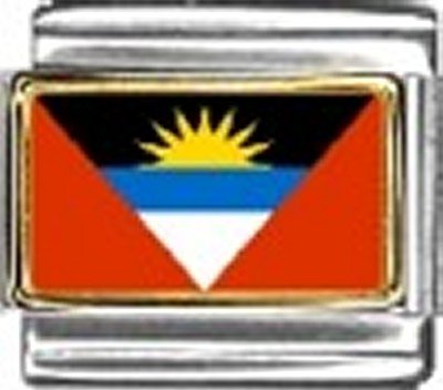 Antigua and Barbuda Photo Flag Italian Charm Bracelet Jewelry Link