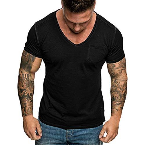 Zackate Mens Solid Color Slim Fit T-Shirt with Pocket Deep V-Neck Short Sleeve Sweatshirts Black