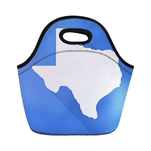 Semtomn Neoprene Lunch Tote Bag Texas White Map Border Flat Simple Long Shadow Reusable Cooler Bags Insulated Thermal Picnic Handbag for Travel,School,Outdoors,Work