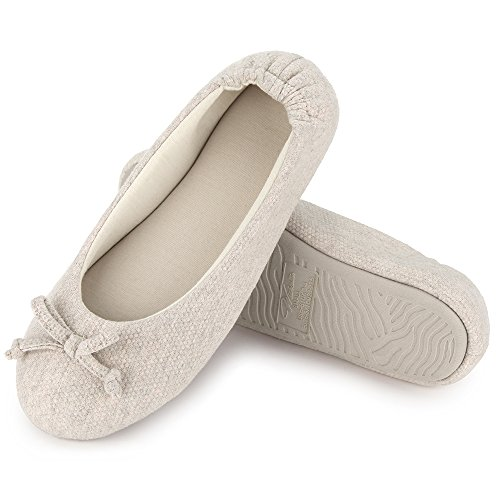 (Wishcotton Womens Breathable Ballerina Slippers Beige )