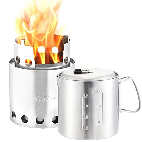 Solo Stove & Pot 900 Combo: Ultralight Wood Burning Backpacking Cook System. Lightweight Kitchen Kit for Backpacking, Camping, Survival. Burns Twigs, No Batteries or Liquid Fuel Gas Canister Required (Solo Combo)