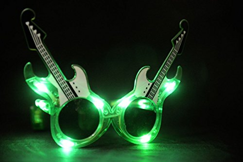 [Guitar Flashing Light Up LED Glasses / Shades - Green] (The Music Man Costumes For Sale)