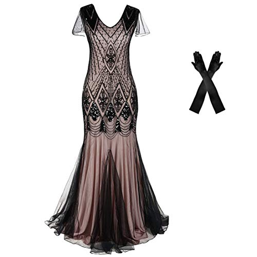 Women Evening Dress 1920s Flapper Cocktail Mermaid Plus Size Formal Gown with Gloves (XL/US 16-18, Beige Black)]()