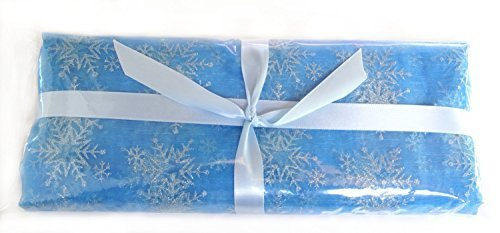 [Snowflake Fabric, Sheer Blue Organza with Glitter Snowflakes, Two (2) Yards Pre-cut] (Holiday Recital Costumes)