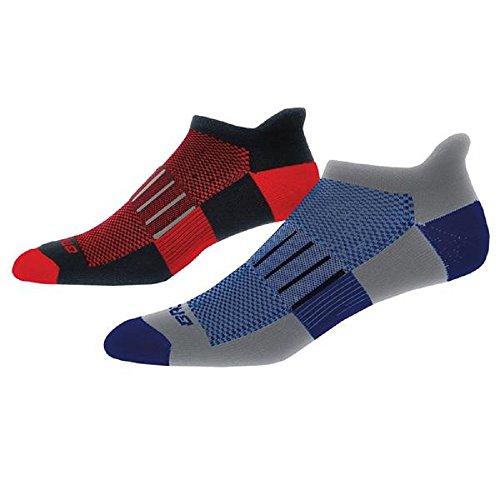 Brooks Ghost Midweight Running Socks (Black/Red+Heather Grey.Marathon, X-large) - Brooks Mens Socks