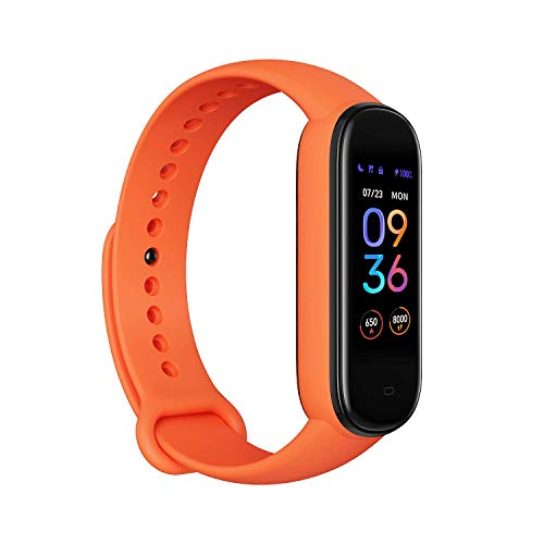 Amazfit Band 5 Fitness Tracker with Alexa Built-in, 15-Day Battery Life, Blood Oxygen, Heart Rate, Sleep Monitoring, Women's Health Tracking, Always-On Display, Music Control, Water Resistant, Orange