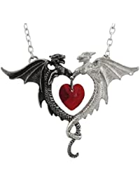 Womens Coeur Sauvage Heart And Dragons Pewter Pendant Necklace