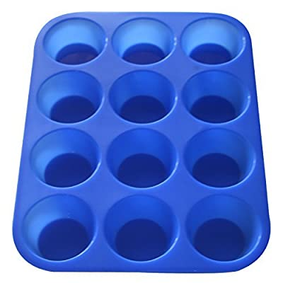 Muffin Pan Silicone and Cupcake Maker 12 Cup Quality Muffin Bake Pan - Made Out of 100% Silicone FDA & Lfgb Approved Food Grade Silicone - Safe + Non-stick + Durable Flexible Silicone Cupcake Mold (24 Cup & 12 Cup) Easy to Clean + Dishwasher Safe Can With