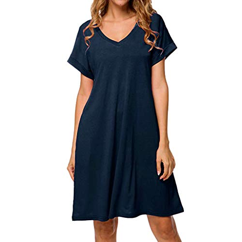 - TOTOD Dress, Womens Summer Casual Solid Loose Dresses -Ladies Evening Long Maxi Dress Multi-Code(4023-Navy,L)