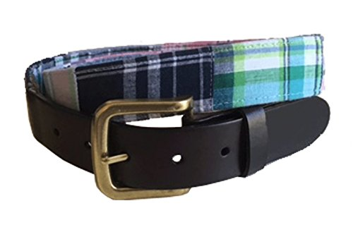 No27 Mens Pink Plaid Leather Belt, Leather Tab and Buckle, Multi Color Plaid Fabric and Leather Belt
