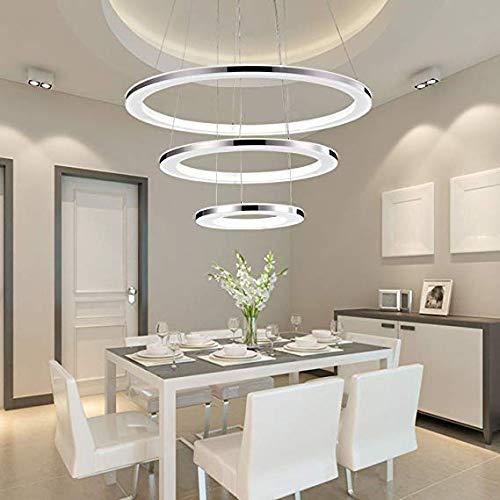 XUEGM-Light Moderne LED Pendelleuchte Esstisch 96W Led 3-Ring Led Dimmbar Fernbedienung Hängeleuchte Wohnzimmer Deckenleuchte Schlafzimmer Höhenverstehbar