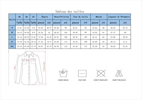 Manches Rouge Yidarton Carreaux Revers Longues Automne Femme Boutonnire Tops Blouse Shirt Chemise Pqq1Ut