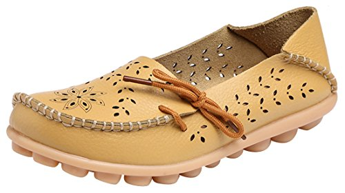 UJoowalk Women's Yellow Casual Cowhide Leather Hollow Out Driving Loafer Shoes Boat Flats - Size ()