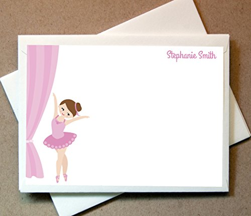 Personalized Gifts - Ballerina Note Cards (40 Non-foldover Cards and Blank Envelopes) Kids Thank You (Ballerina Personalized Note)