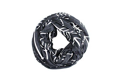 Pop Fashion Womens Arrow Pattern Infinity Scarf Wrap Scarf with White Zipper Pocket, Infinity Scarves