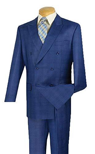 Mens Fashion Suit Double Breasted Classic Suit Regular Fit Glen Plaid Blue