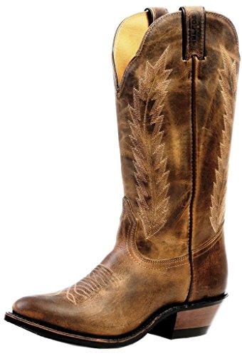 Boulet Kvinners Hillbilly Golden Rider Såle Cowgirl Boot - 4236 Brun