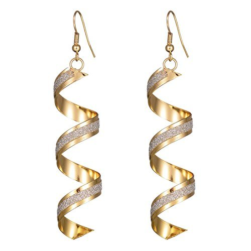 Maying Sparkling Frosted Spiral Long Pierced Drop Earrings (Gold)