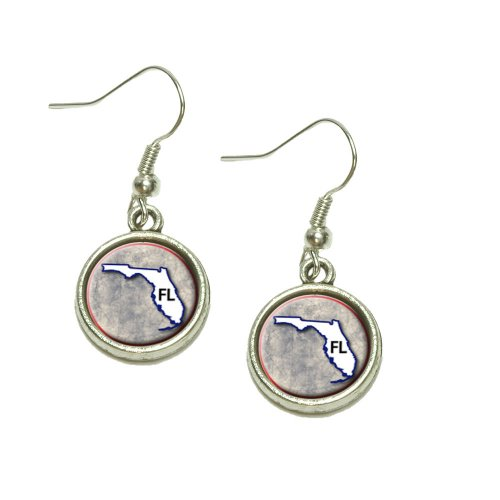 Florida FL State Outline on Faded Blue Dangling Drop Charm Earrings