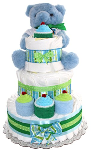 3 Tier Diaper Cake - Blue Teddy Bear Diaper Cake For Boy - Baby Gift For Baby Shower - Teddy Bear Theme - Diaper Cake Is Decorated With Cupcakes Made Out Of Newborn Socks And Washcloths (Blue) from QBabyShowering