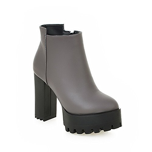 Leather Platform Womens Gray Chunky Boots 1TO9 Zipper Heels Imitated SaOYwY