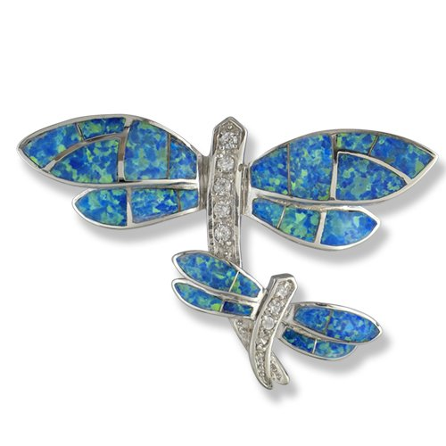 (Synthetic Opal Sterling Silver Dragon Fly)