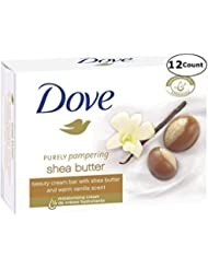 Dove Purely Pampering Shea Butter Beauty Bar with Vanilla Scent Soap 3.5 Oz / 100 Gr (Pack of 12 Bars)