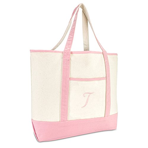 DALIX Women's Cotton Canvas Tote Bag Large Shoulder Bags Pink Monogram T]()