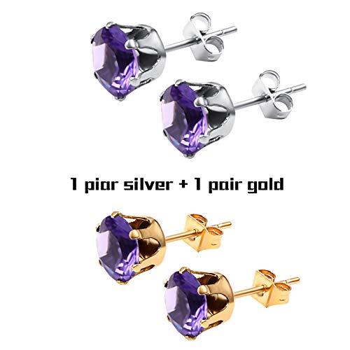 c776e295f Amazon.com: TTO Stud Earrings Small Crystal Stud Earrings in Stainless  Steel Men Jewelry Silver Pair Crown Zircon Crystal Earring Women Mens 1  PCs: Home & ...