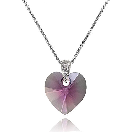 Sterling Silver Pink Heart Necklace Created with Swarovski Crystals