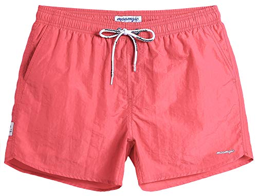 MaaMgic Mens Boys Short Swim Trunks Slim Fit Swim Shorts Swimsuit for Men Mens Bathing Suits Bright Pink