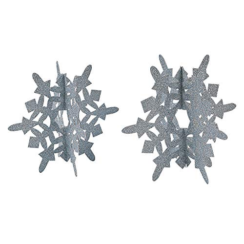 Fun Express - Silver Glitter Snowflake Centerpiece for Winter - Party Decor - General Decor - Centerpieces - Winter - 2 Pieces