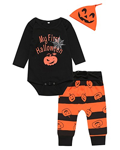 Halloween Outfits Boys (Mini Era 3PCS Halloween Baby Boys' Outfit set Pumpkin Costume Romper (0-3 Months))