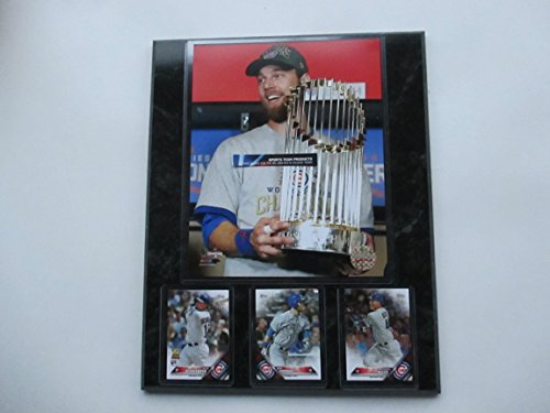 (BEN ZOBRIST HOLDING THE 2016 WORLD SERIES MVP TROPHY PHOTO AND 3 PLAYER CARDS MOUNTED ON A 12X15 BLACK MARBLE PLAQUE)