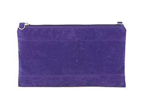 Divina Ante Sintético de Embrague/hombro/bolsa de crossbody/correa de muñeca tamaño grande violeta morado