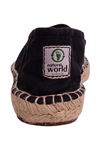 Slip Sole Womens On Natural Eco Cotton Black Friendly Espadrille World 1pOpZwq0T