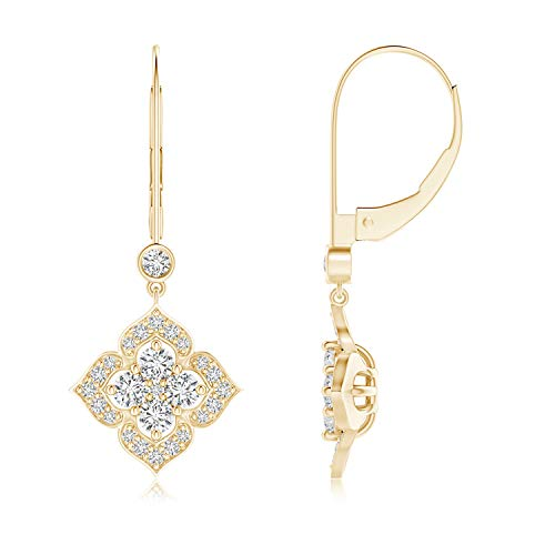 - Diamond Clover Leverback Earrings in 14K Yellow Gold (2.5mm Diamond)