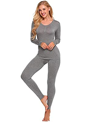 Skylin Women Solid Long Sleeve Tops with Elastic Waist Pants Thermal Underwear Set S-XXL