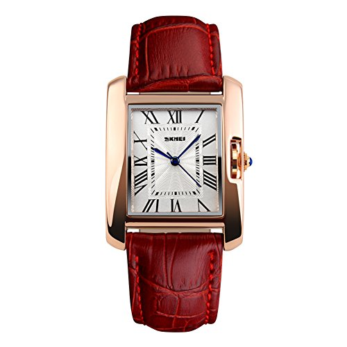 Women's Brown Roman Classic Synthetic Leather Strap Watch - 8