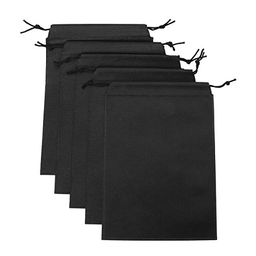 FEESHOW Adult Game Toys Lint Drawstring Storage Bag- Light Weight (Black 5PCS)