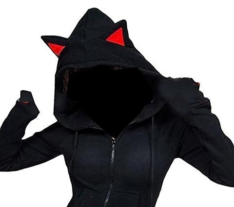 X-Future Womens Cute Cat Ears Front Zip Pockets Hoodies Sweatshirt Jacket Black L - Cat Womens Zip Hoodie