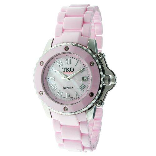 Womens Pink Ceramic - TKO ORLOGI Women's TK575-PK Genuine Ceramic Pink Dial Watch