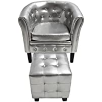 Festnight Club Tub Chair and Ottoman Armchair with Footrest 27.4 x 24.4 x 28 in.