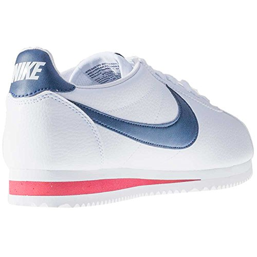 Nike Classic Cortez Leather, Zapatillas de Running para Hombre Blanco / Azul / Rojo (White / Midnight Navy-Gym Red)