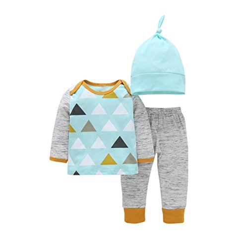 Fall 3 Piece Outfit (YIJIUJIU Baby Boys 3 Piece Outfits Long Sleeve Triangle Pattern Tops +Striped Pants+Hat Clothing Set 12-18 Months)