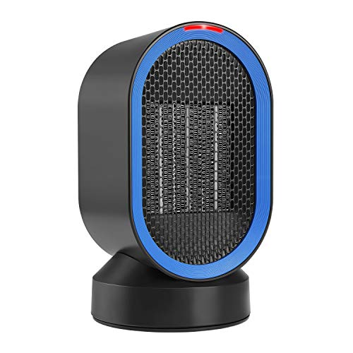 COMLIFE Portable Space, PTC Ceramic Heater Auto Oscillation, ETL Listed, Small Desktop Heating Fan with Overheat & Tip Over Protections for Office Indoor Home, 600 W, 600W, Black and Blue